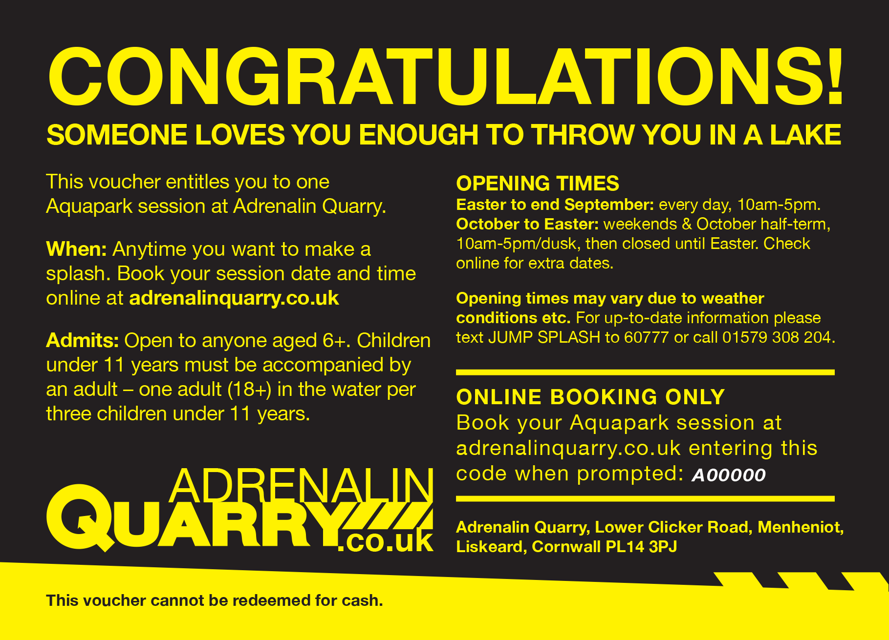 Extreme Sports Gift Vouchers - Adrenalin Quarry